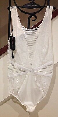 Brand New Bras N Things White  Lace & Mesh Bodysuit Size 12 RRP$69.99