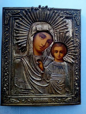 Antique 19c Russian Orthodox Printed on wood Icon Mother of God in brass oklad.