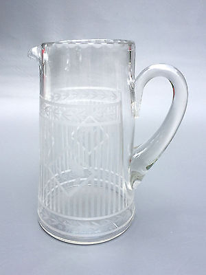 Beautiful antique, clear etched glass Edwardian water pitcher 1900's 1910's