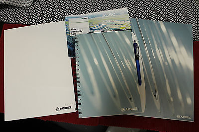 Airbus set with folder, two pens, writing book, notepad, A350 assembly line book