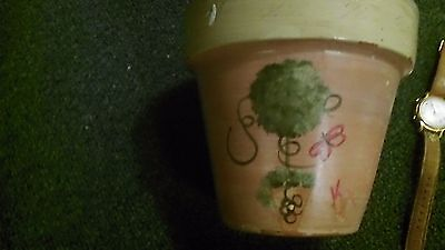 1Terracotta Flower PoT plant old vintage pot clay garden MADE IN ITALY MARKED