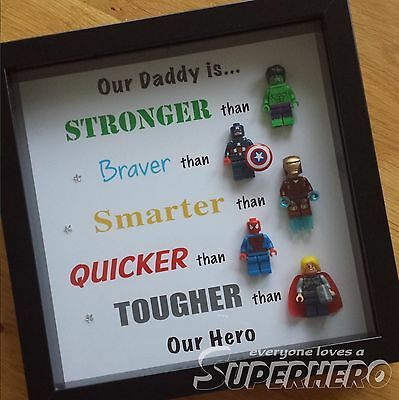 Personalised Superhero Daddy/Dad/Grandad Frame Perfect Gift Fathers Day/Birthday