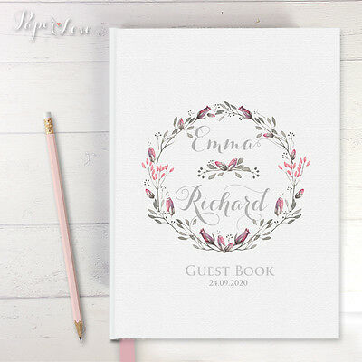 Personalised White Wedding Guest Book Hardcover Wreath Bride And Groom's Name