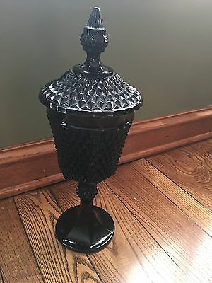 """Vintage Indiana diamond point tiara black glass covered candy dish 16"""""""
