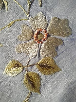 "Antique c1900 ~SOCIETY SILK~Gold Briar Roses~Hand-Embroidered Centre/mat~12""X18"""