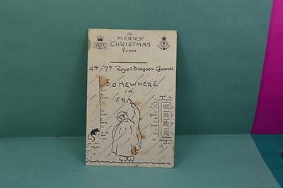 WW 1 comic Christmas card 4th / 7 th Royal Dragoon Grds + Signed  W.O Mess card