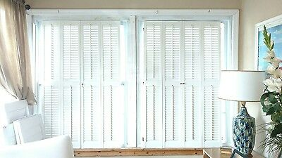 Interior Colonial/ Traditional Solid Wood Plantation Shutters 2 Sets Available
