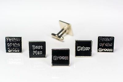 Mens Black Wedding Cufflinks Groom Best Man Usher Father Of Bride/Groom (W1)