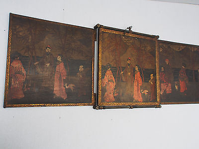 Antique 19 c~Chinese Hand Paint Figural Court Scene Panels~Trifold Travel Mirror