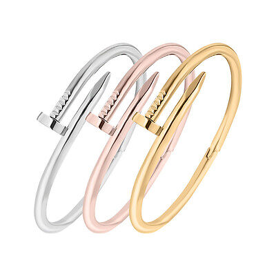 Unisex Stainless Steel Fashion Nail Bangle Bracelet with Jewelry Pouch Gold,Rose