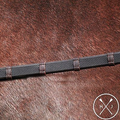 Henry James Saddlery English Hybrid Rubber Reins with Leather Stoppers