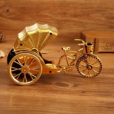 Retro Vintage Metal  Tricycle Decoration Home Table Clock Ornament