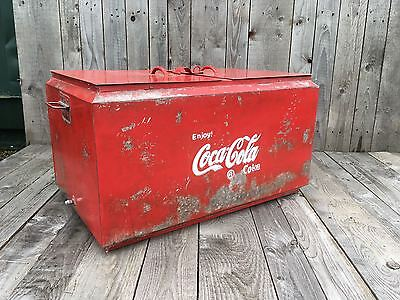 Retro Red Coca Cola Metal Cool Box with 2 Sections Vintage drinks cooler coke