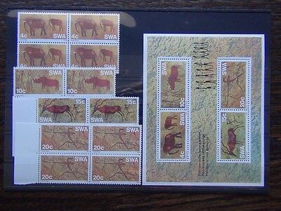 South West Africa 1976 Rock Paintings set in block x 4 + Miniature Sheet MNH