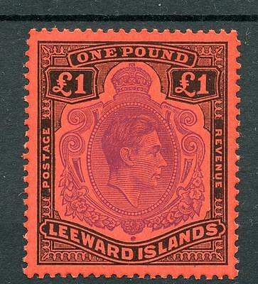 Leeward Islands 1938-51 £1 perf 13 violet and black on scarlet MNH SG114c
