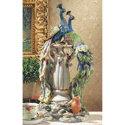 "Design Toscano 19"" Hand Painted 360 Degree Sculpture Peacocks In Paradise Statue"