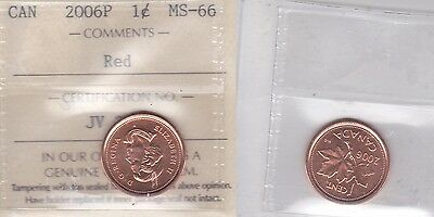 2006P ICCS MS66 1 cent Red (magnetic) Canada one penny