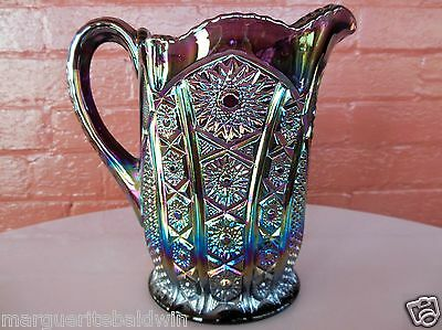Indiana Glass Iridescent Amethyst Carnival Heirloom Paneled Daisy 54 oz Pitcher