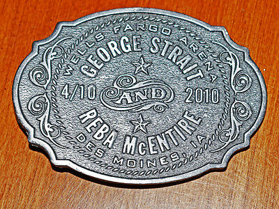 "GEORGE STRAIT & REBA McENTIRE BELT BUCKLE 6 OZ 3-1/2"" X 2-1/2"" EXCELLENT CNDTION"