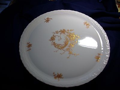 """Limoges Cake Dish """"Chamart"""" Chinoiserie Pracock"""