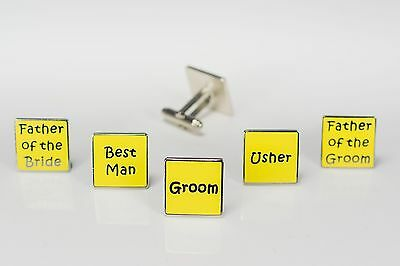 Mens Yellow Wedding Cufflinks - Groom Best Man Usher Father Of Bride/Groom  (W6)