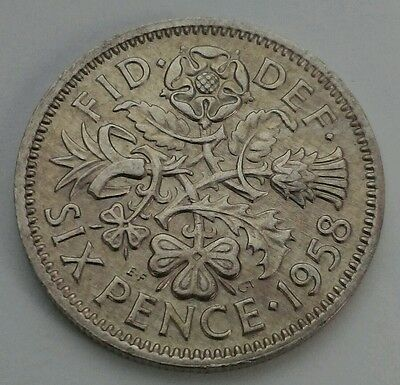 Great Britain,UK 6 Pence 1958. Sixpence. 6 Cents coin.ELIZABETH II. Half shillig