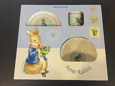 Wedgwood 3 Piece Peter Rabbit Porcelain Christening  2005 Boxed Beatrix Potter