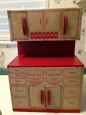 Vintage Wolverine 50's Style Red White Metal Tin Toy Kitchen Cabinets Counter
