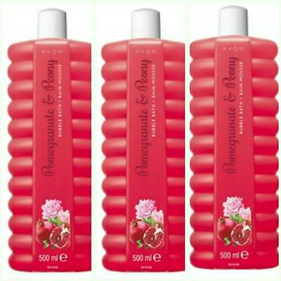 Avon Pomegranate And Peony Bubble Bath- 3 X 500Ml **free Postage**