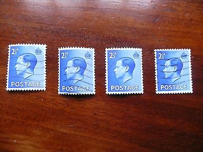 1936 Edward VIII x4 Two and a Half-penny definitive stamps