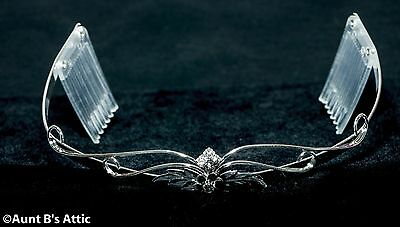 Tiara Silver Metal Delicate Wire & Leaf Pattern With Rhinestone Flower And Combs