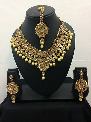 Bollywood Indian Necklace Earrings Tikka Set Jewellery Set Silver Gold