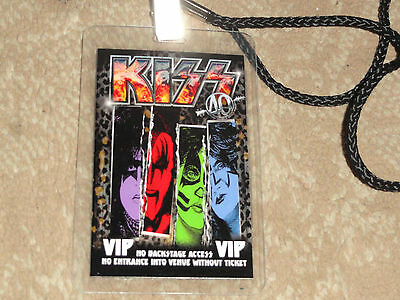 Kiss 40Th Anniversary U.s. Tour V.i.p. Laminate With Lanyard For Vip Holders!