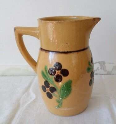 Ancien pichet Alsace en terre vernissée / French Pottery old Alsace Pitcher