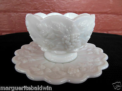 Westmoreland Milk Glass White Paneled Grape Mayonnaise Cocktail Bowl & Saucer