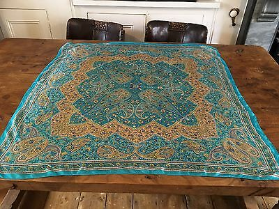 Vintage Large Paisley/ Floral Silk Scarf 39 X 39 Inches