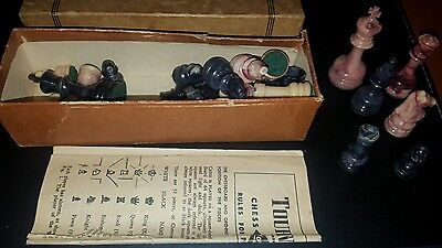 Vintage 1945 Set Of 32 Chess Pieces By Lowe Co. Tournament Chessmen Look! 1945