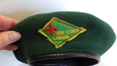 Rare Vintage Green Wool Official Boy Scouts Canada Beret Hat c1960 6 5/8