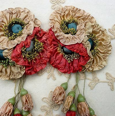 Antique Silk Ribbon Work Flowers and Buds