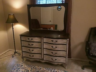 Refurbished Dresser, chic, distressed, white and dark brown