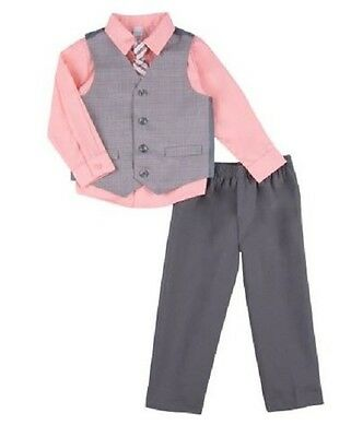 NEW Infant Boy George 4PC Suit Vest Set Peach  0-3M Shirt, Pants, Vest & Tie