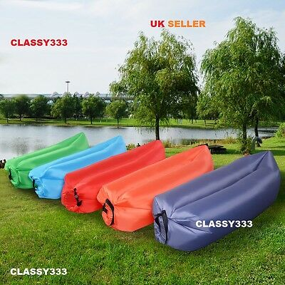Lazy Lounger Inflatable Air Bed Sofa Lay Sack Hangout Camping Beach Bean Bag GRY
