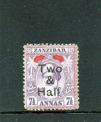 Zanzibar 1904, 2½ on 7½a Mauve, Opt Type 22b, SG208b Mounted Mint / MH  (A442)