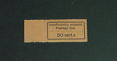 "Zanzibar 1926-30, 50c Black/Orange P/Due with ""cent.s""  Error SG D16a VLMM (A328"