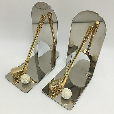 """Vintage Retro Book Ends Chrome Brass Metal Golf Club Ball Father Day Office 5.5"""""""