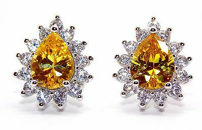 Sterling Silver Citrine And Diamond 2.98ct Stud Earrings (925)