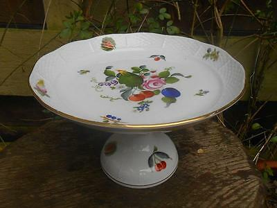 Hand Painted HEREND Hungary Porcelain Fruit Stand Flowers and Fruit BFR pattern