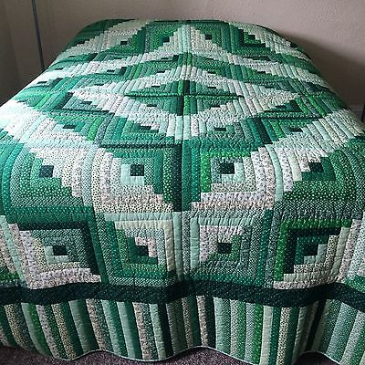 """Vtg quilt LOG CABIN  hand quilted  beautiful green fabrics LARGE 112x88"""""""
