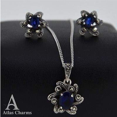 Set Marcasite Blue Sapphire Sterling Silver Earrings Pendant Necklace  jewelry