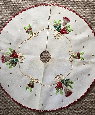 Vintage Mid Century Christmas Bells Tree Skirt Off White Felt Sequins
